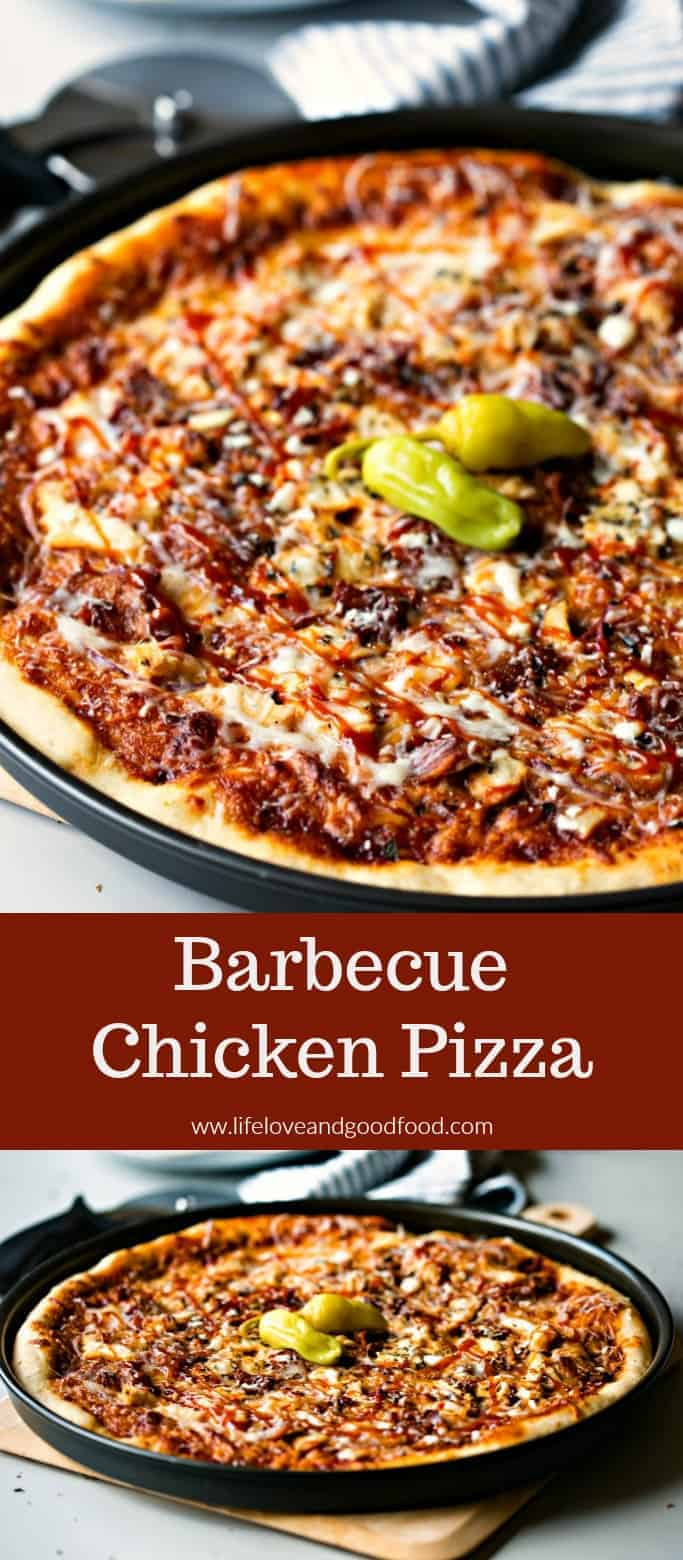 BBQ Chicken Pizza is the easiest gourmet pizza ever! Topped with spicy sauce, mozzarella cheese,  red onions & bacon, this is a weeknight meal your family will love! #BBQChickenPizza #homemadepizza