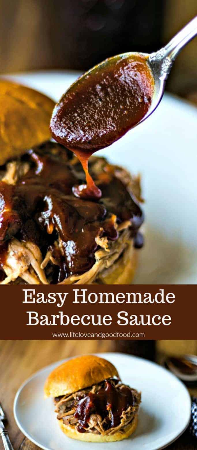 Make this tangy, sweet barbecue sauce with just five ingredients and in just 30 minutes! So much better than store-bought! #bbqsauce #barbecuesauce #homemadeBBQsauce #porkbbqsauce #summergrilling