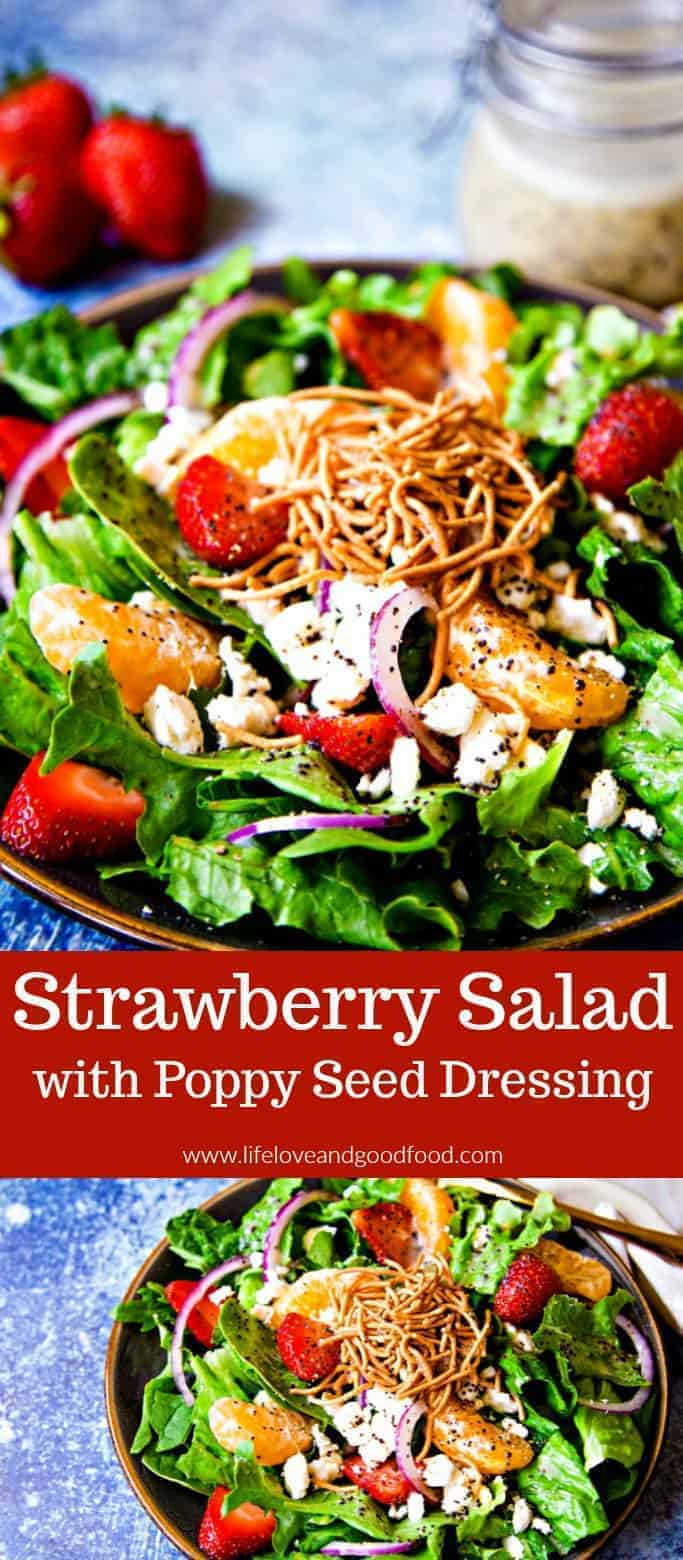 Strawberry Salad topped with a homemade poppy seed dressing and fresh mandarin oranges is a refreshing summer salad that comes together in just 20 minutes. #salad #strawberrysalad #poppyseeddressing