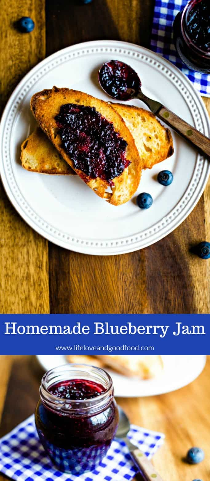 Fresh is best! Homemade Blueberry Jam with a hint of cinnamon is delicious on sourdough toast, biscuits, or even a PB&J! #blueberryjam #canning #homemadejam