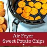 sweet potato slices in air fryer basket
