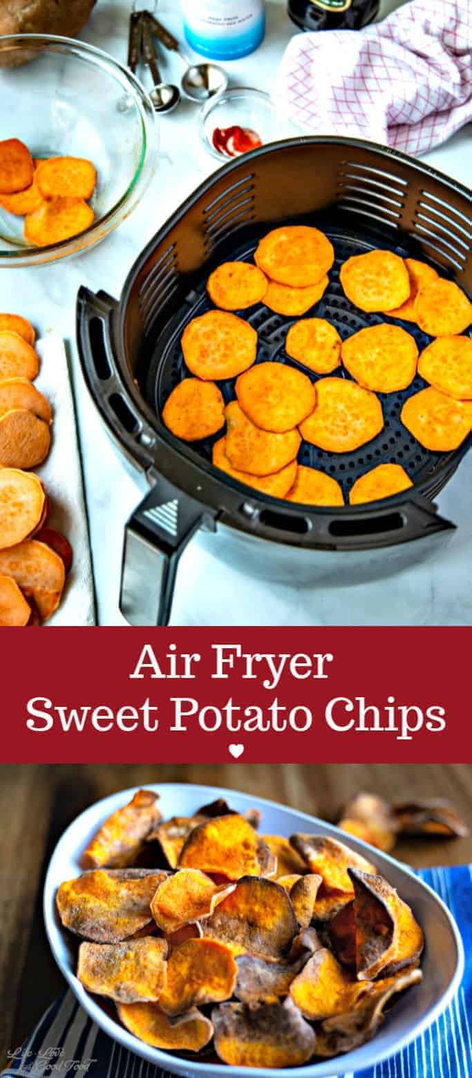 Crunchy and sweet with just a hint of salt, these healthy air fried sweet potato chips make a delicious snack as well as a side for gourmet burgers or sandwiches. #airfyrer #sweetpotato #healthyrecipe