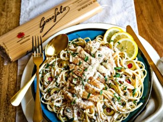 Lemon Chicken Pasta with Capers and Olives