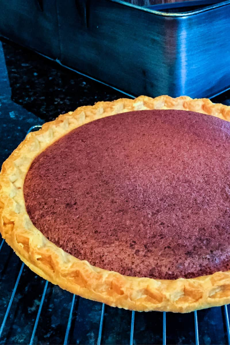 A Chocolate Chess Pie coming out of the oven