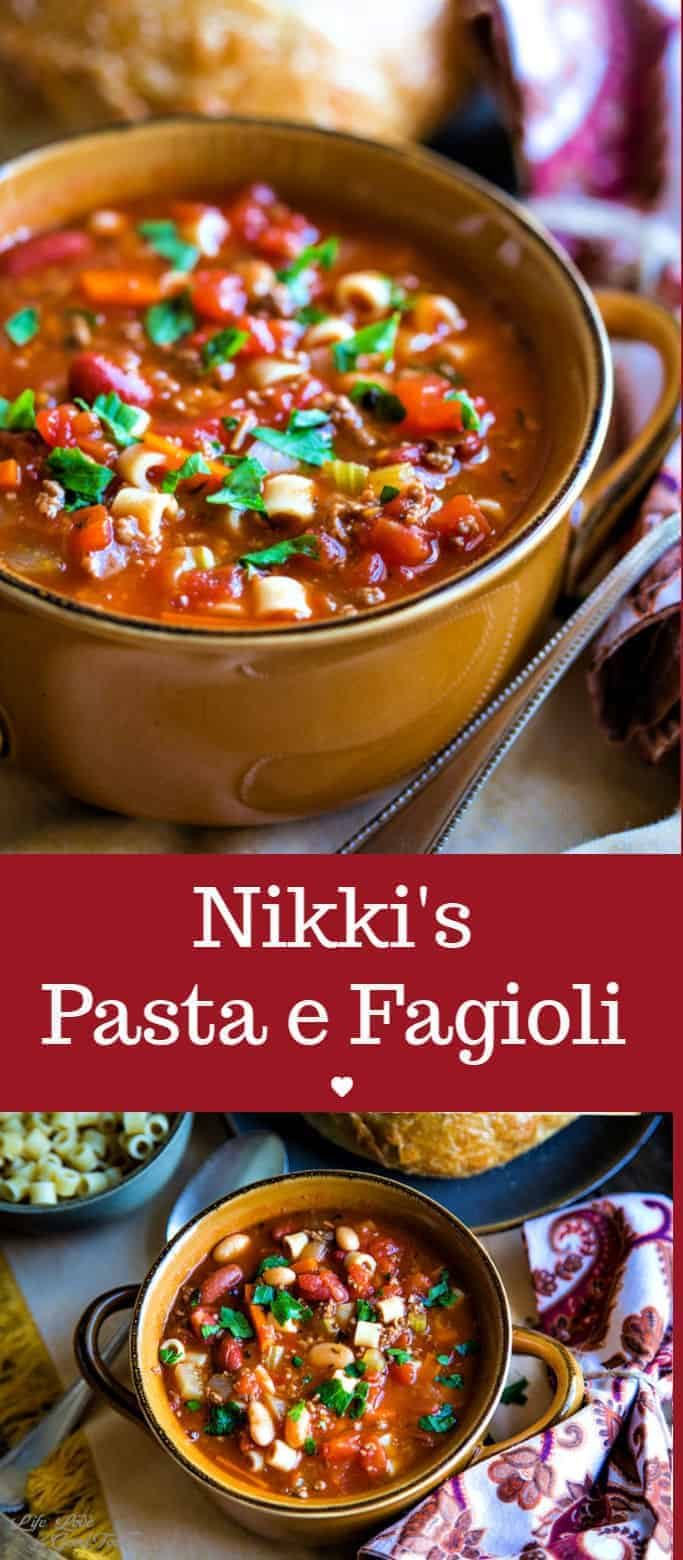 Hearty and filling, serve Nikki's Pasta e Fagioli Soup — or Italian pasta and bean soup — with a loaf of warm, crusty bread or Italian bread sticks in order to soak up every last drop of the delicious, savory broth. This easy Italian soup recipe made with ground beef includes instructions for making this dish either on the stove or in a slow cooker. #FreakyFridayRecipes #pastafagioli #Italiansoup