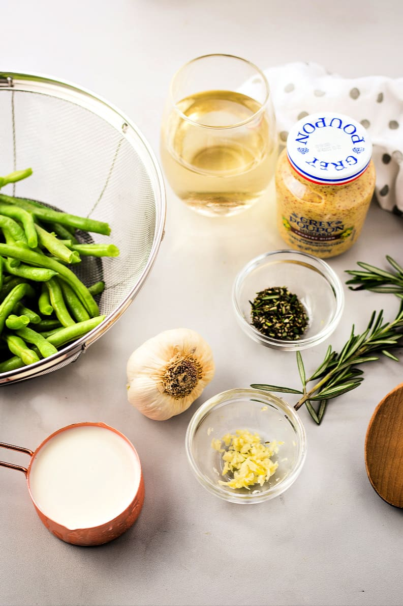 ingredients for making the sauce for rosemary dijon chicken