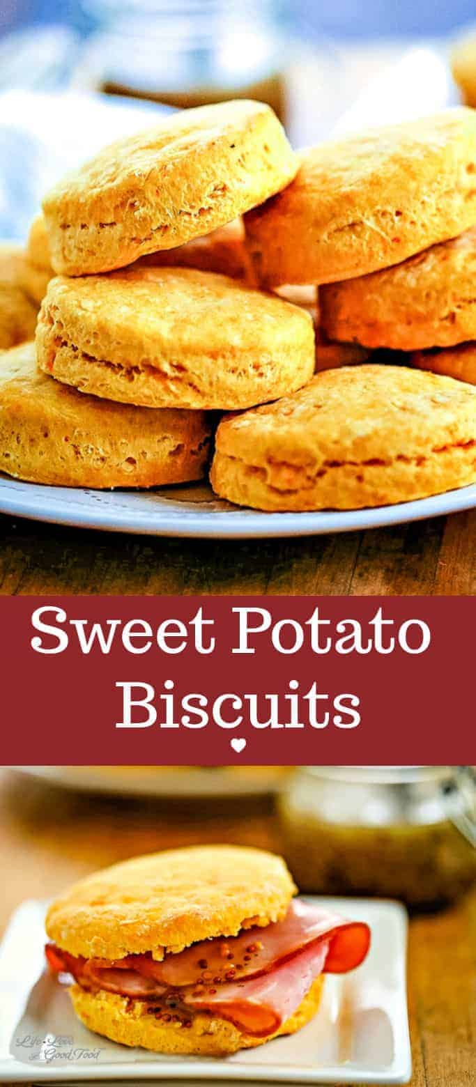 Buttery and flaky, Sweet Potato Biscuits make a lovely addition to any Thanksgiving or Christmas menu. Just by adding mashed sweet potato to the dough, you get a sweeter, moister biscuit. This easy homemade Southern biscuit recipe is particularly tasty paired with baked ham (or turkey) or drizzled with honey. #biscuits #sweetpotato #easyrecipe