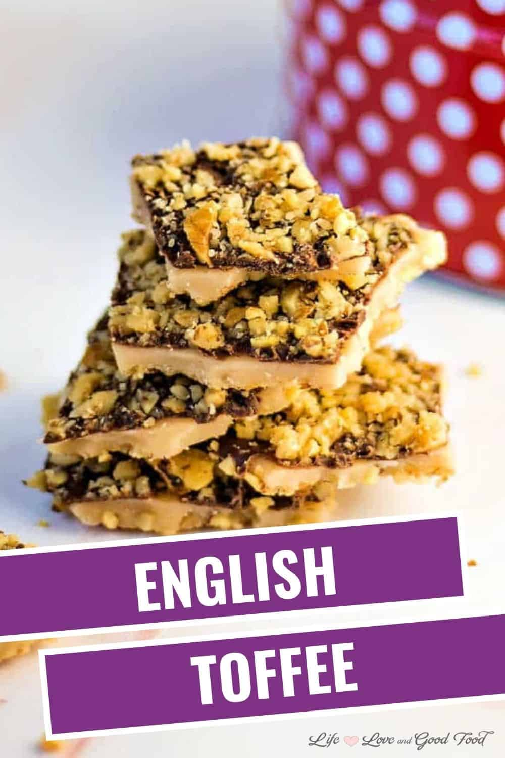 Traditional English Toffee made with buttery caramel, dark chocolate, and walnuts—a sweet, crunchy, and delicious candy for holiday gift giving. #candymaking #holidaybaking