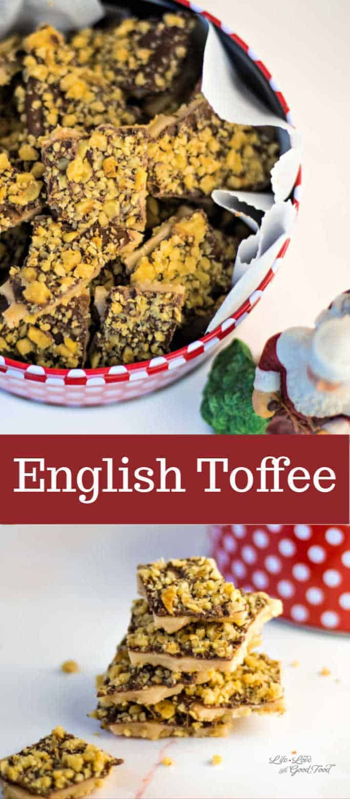 Traditional English Toffee made with buttery caramel, dark chocolate, and walnuts—a sweet, crunchy, and delicious candy for holiday gift giving.