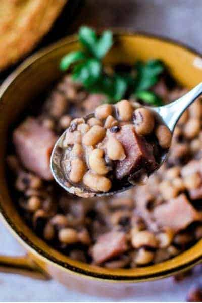 a bowl of instant pot black-eyed peas