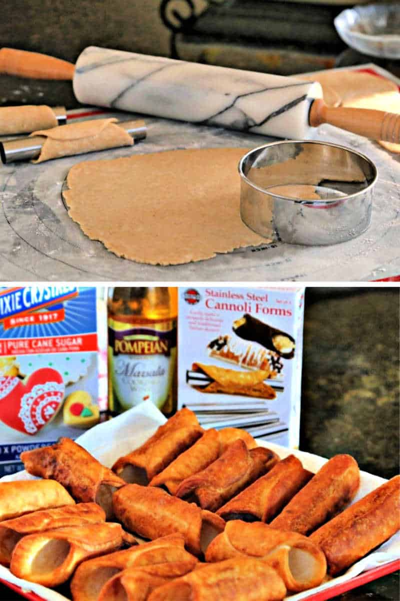 rolling out cannoli dough with the cannoli cutter