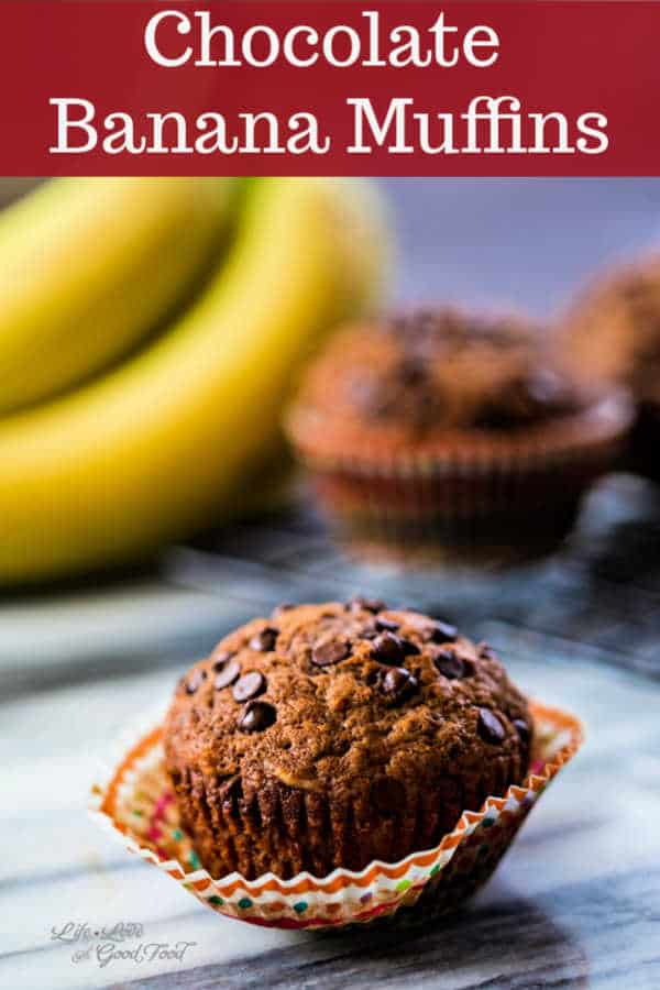 Chocolate Banana Muffins are so moist you'll think you're eating a cupcake! These delicious double chocolate, soft and moist muffins are made in one bowl for easy prep and clean-up! Perfect for breakfast, brunch, or snacks.