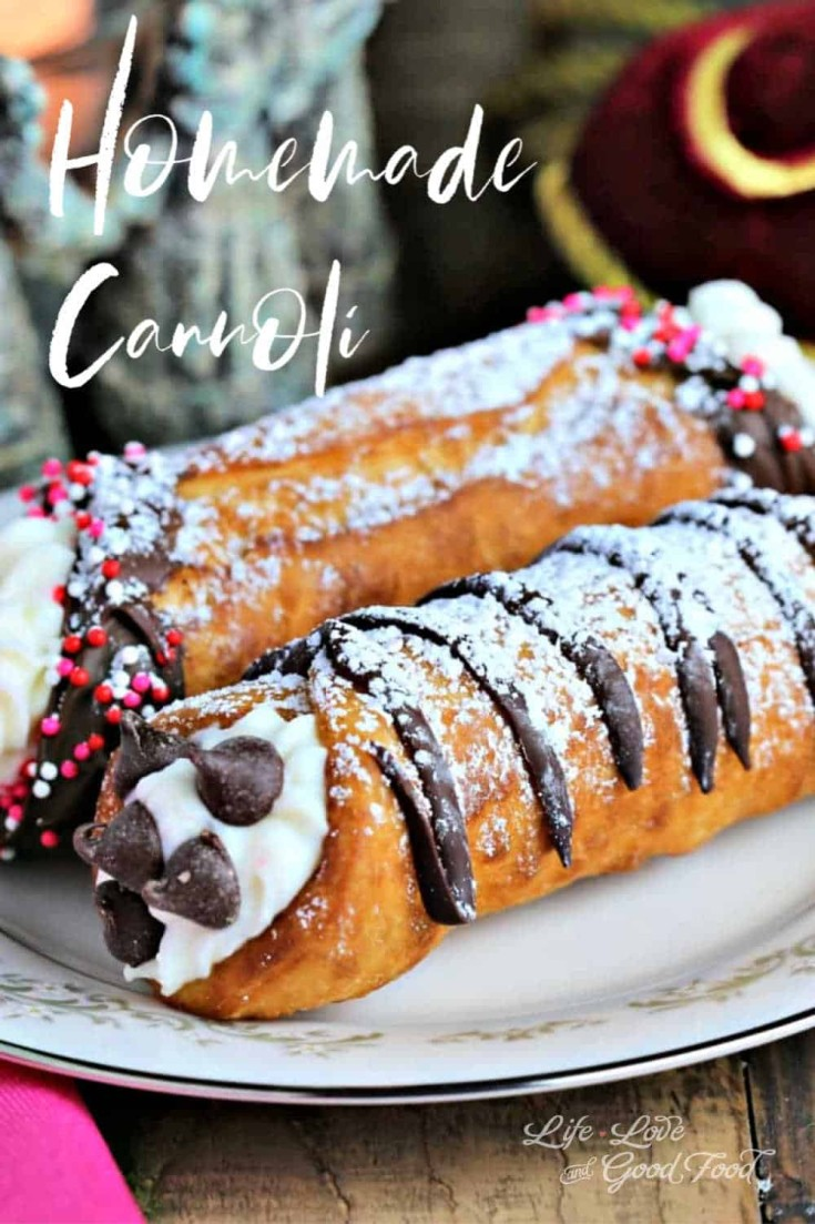This delightfully delicious and flaky Italian pastry is dipped in chocolate and filled with a sweetened ricotta cheese and cream cheese mixture. Add a dusting of powdered sugar on top and Homemade Cannolis are perfect for a special Valentine's Day celebration! #cannoli #pastry