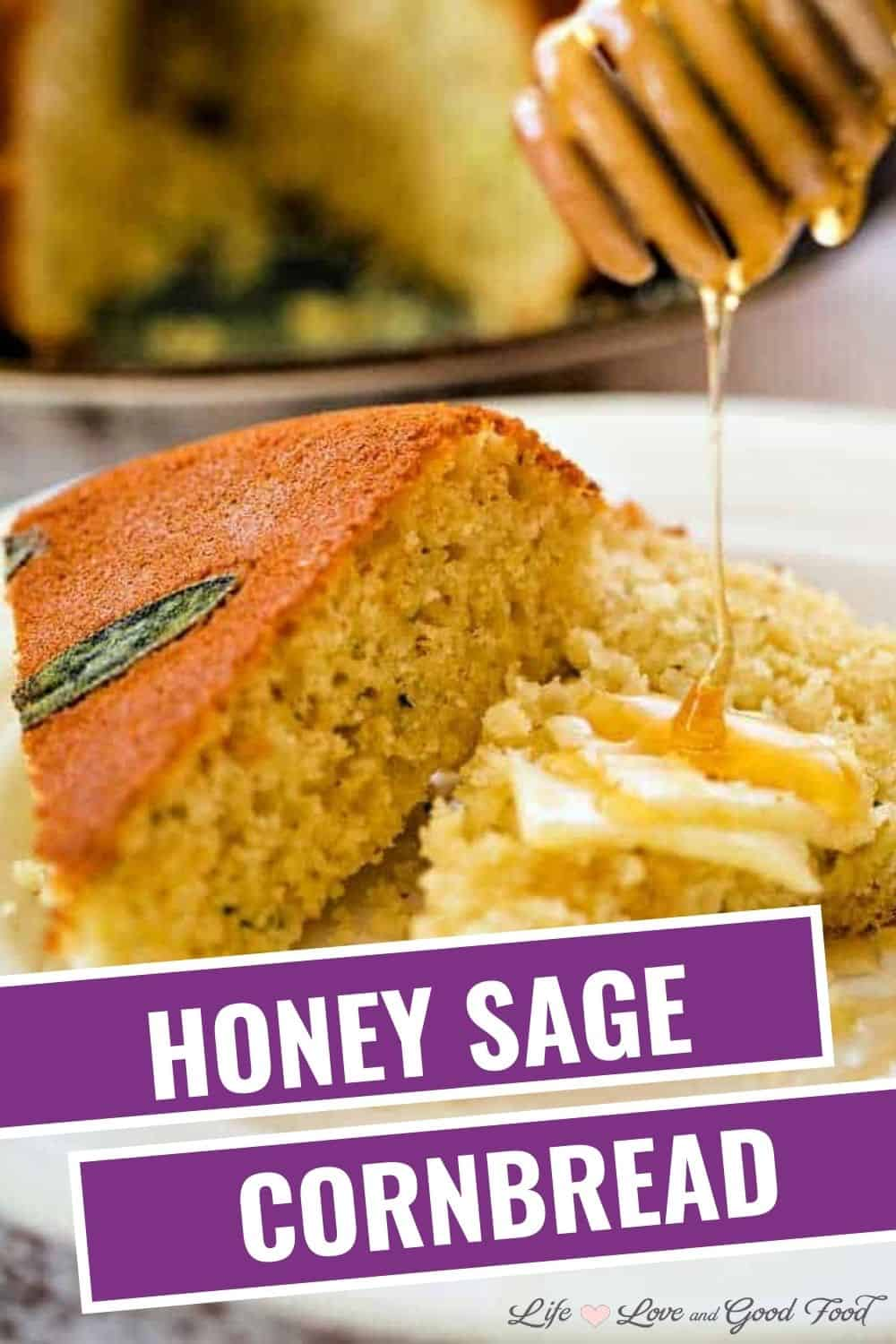Honey Skillet Cornbread bakes in a hot cast iron skillet to get a beautiful golden crust speckled with whole sage leaves. Honey, more fresh sage, and a bit of minced green onion in the batter give this delicious Southern cornbread hints of both savory and sweet flavors making it extra special!