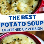 LIFTING A SPOON OF POTATO SOUP OUT OF A RED BOWL.