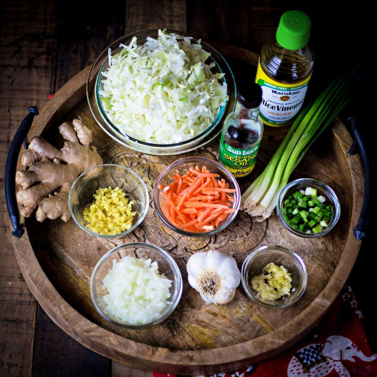 ingredients or Ginger Chicken Eggroll in a Bowl