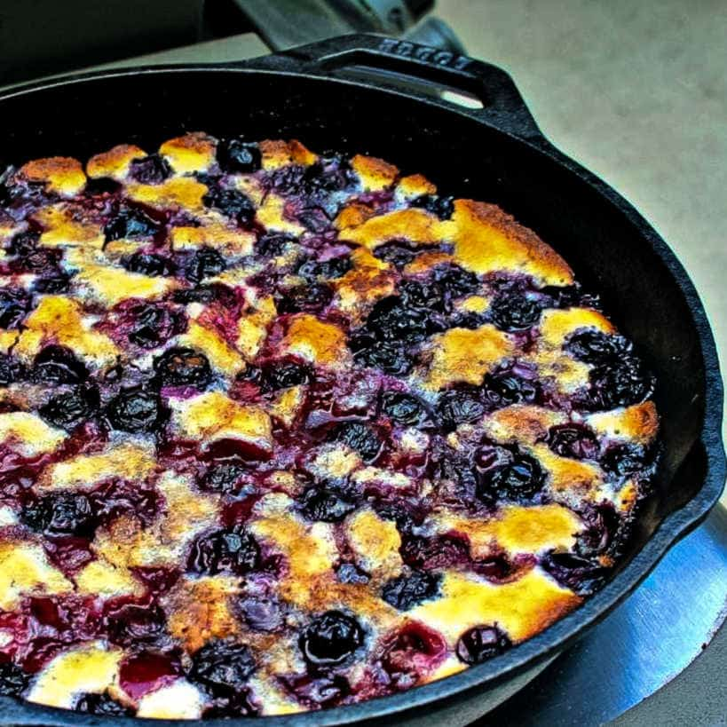 cherry cobbler in a cast iron skillet