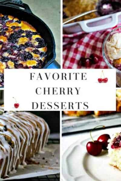a collage of cherry desserts