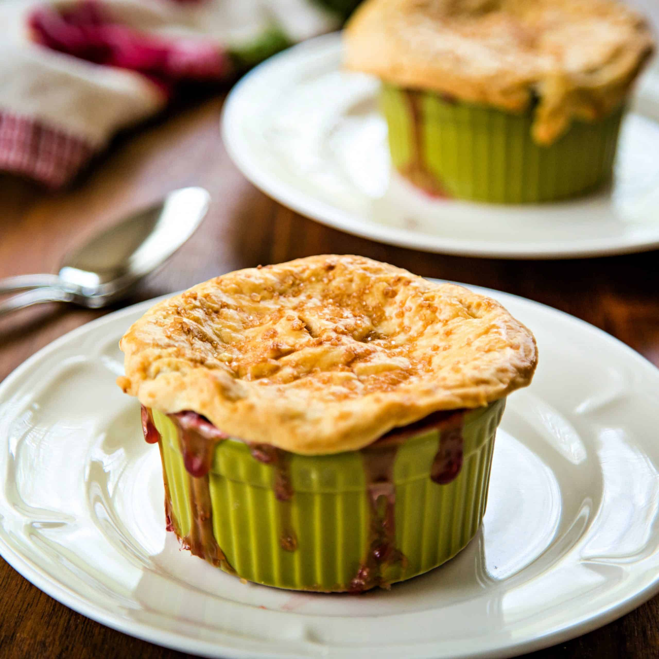 cherry pot pies warm from the oven