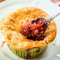 cherry pot pie on a white plate