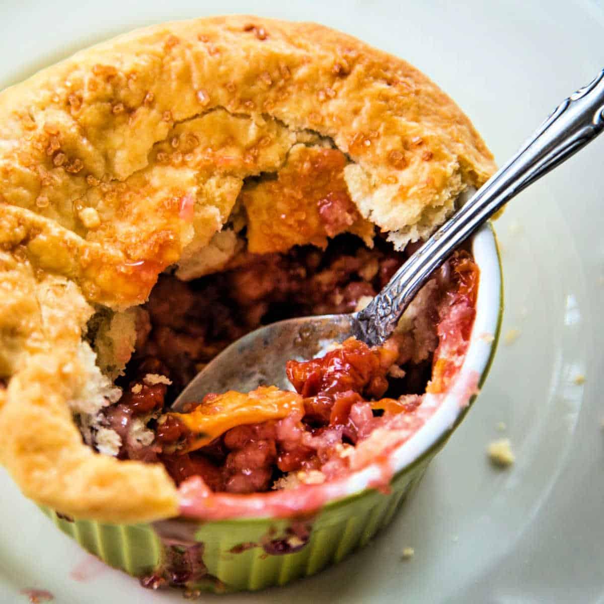 a half eaten cherry pot pie
