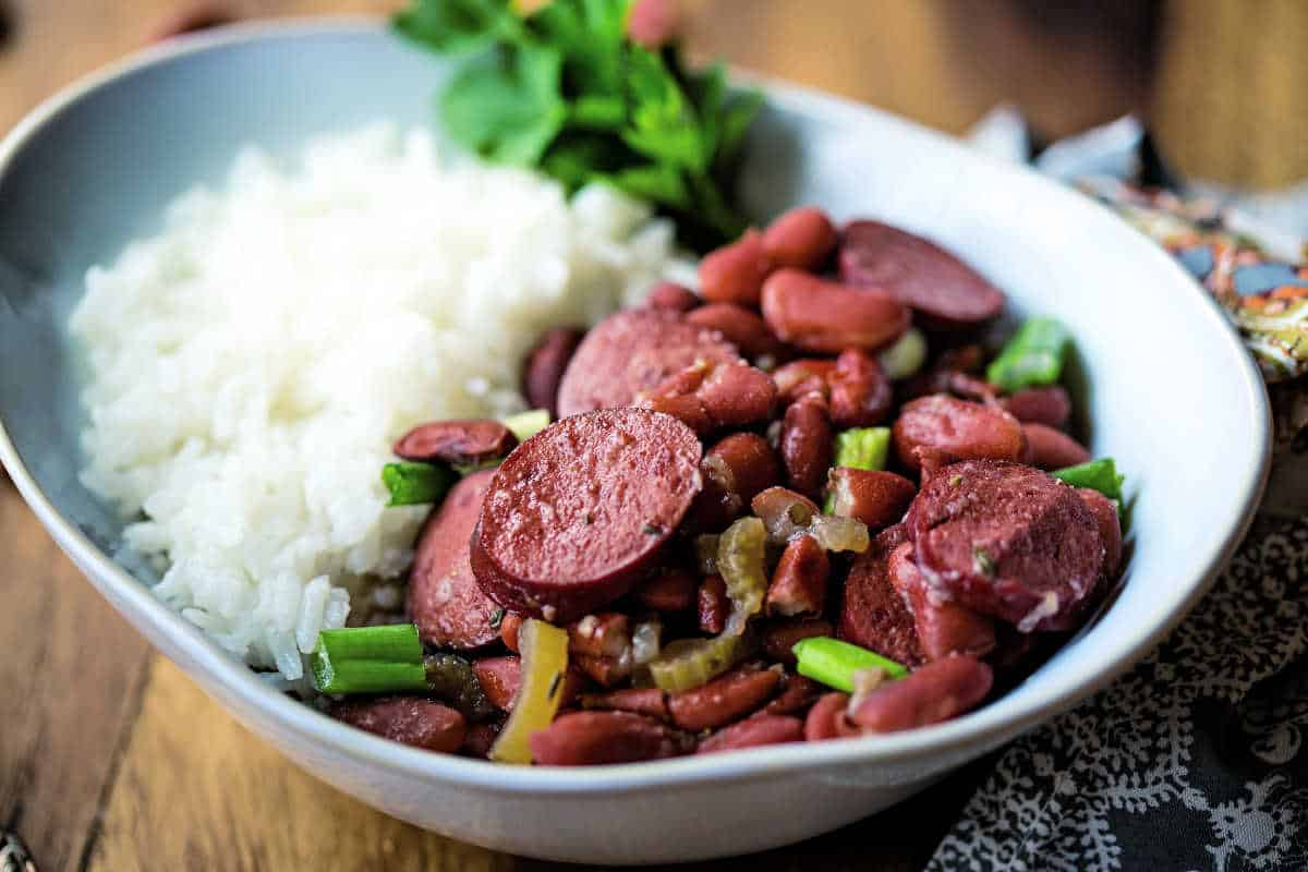 red beans and rice garnished with green onions