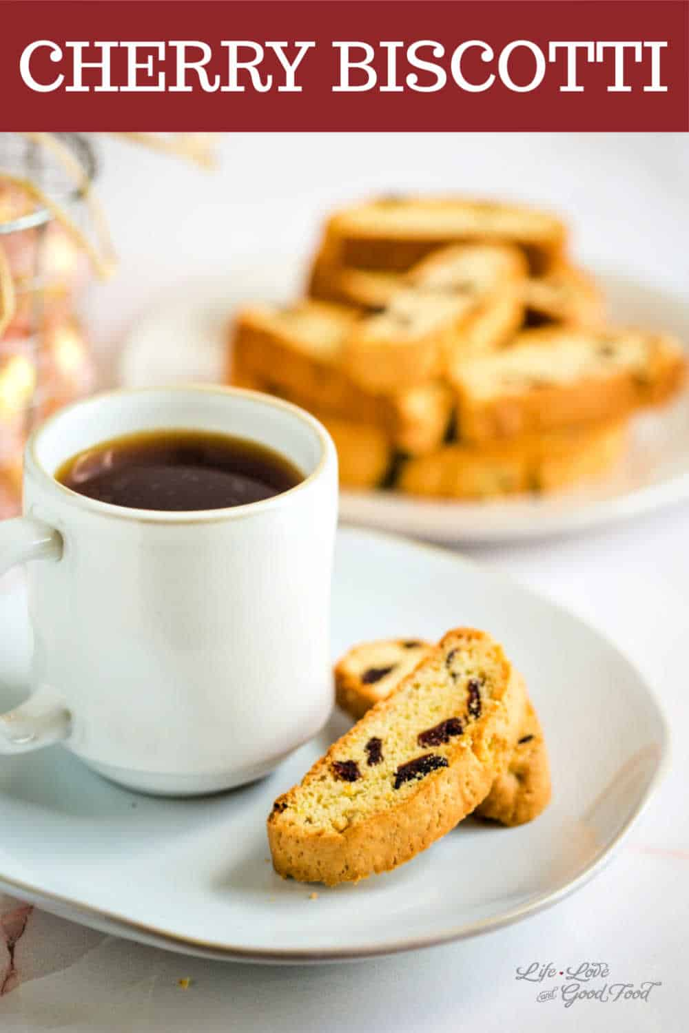 Cherry Biscotti is a vanilla biscotti cookie studded with dried cherries with hints of both orange and almond flavors. This twice-baked Italian cookie is a light and crispy cherry dessert that is delicious served with coffee or tea.