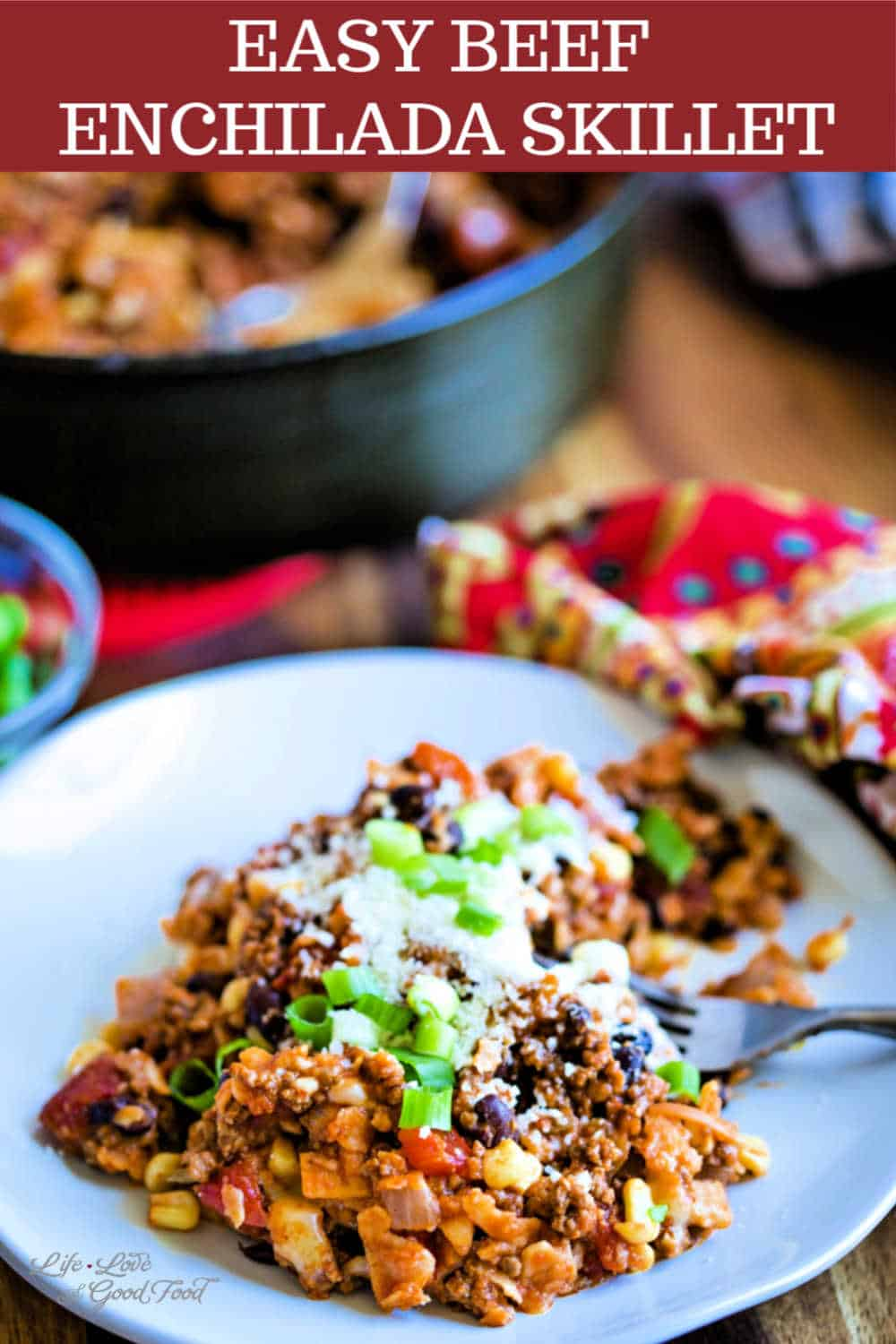 Easy Beef Enchilada Skillet made with ground beef, corn tortillas, and red enchilada sauce is a tasty weeknight Mexican dinner your family will love. Ready in under 30 minutes, adding black beans and whole kernel corn to this stove top casserole makes this recipe a hearty and delicious meal.