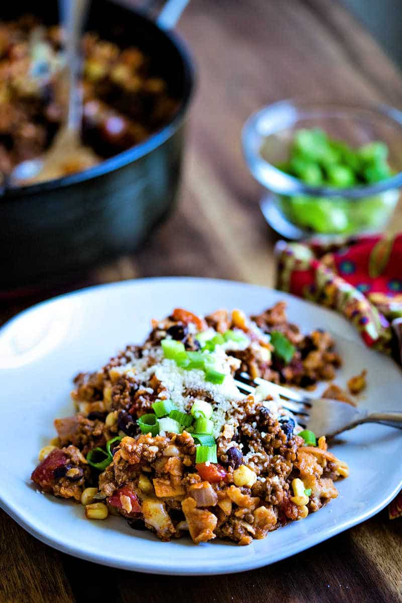 Easy Beef Enchilada Skillet serving on a white plate