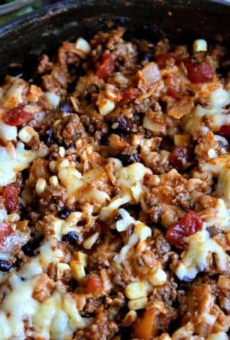 Easy Beef Enchilada Skillet with black beans, corn, and cheese