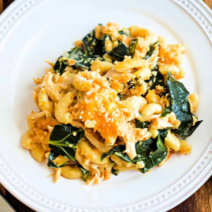 macaroni cheese casserole with chicken and collard greens