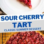 A SLICE OF SOUR CHERRY TART ON A WHITE PLATE.