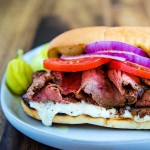 A sandwich on a plate, with Grilled Steak Sandwich