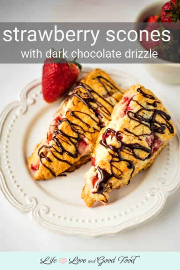 Soft, flaky, and slightly sweet, Fresh Strawberry Scones with Dark Chocolate Drizzle are made from a basic scone recipe that works for all kinds of berries. Serve these scones warm from the oven with a cup of coffee or tea for a tasty breakfast, brunch, or afternoon treat.