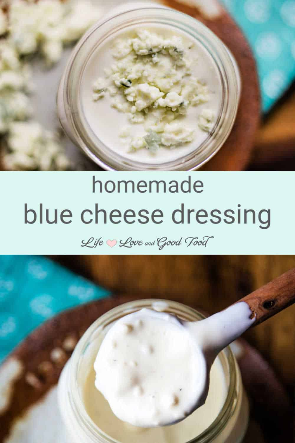 Homemade Blue Cheese Dressing with Buttermilk and chunky blue cheese is not only better than store-bought, it has less than half the calories, too. Ladle this delicious dressing on a classic wedge salad, use it as a dipping sauce for Buffalo wings, or on garden salads.