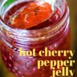 a spoon of hot cherry pepper jelly