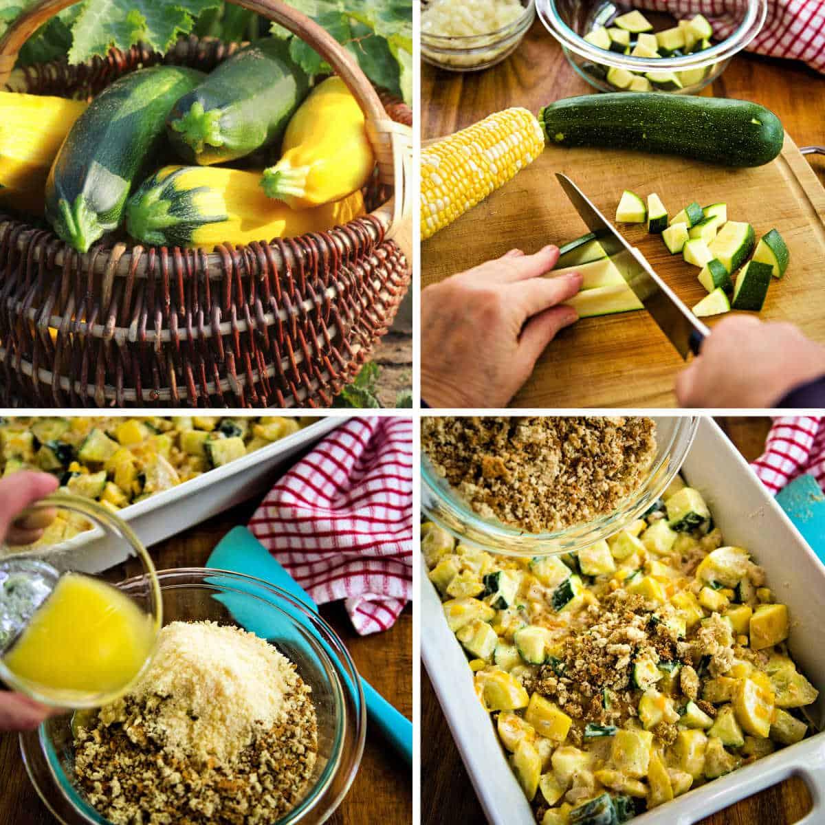 preparing squash zucchini casserole