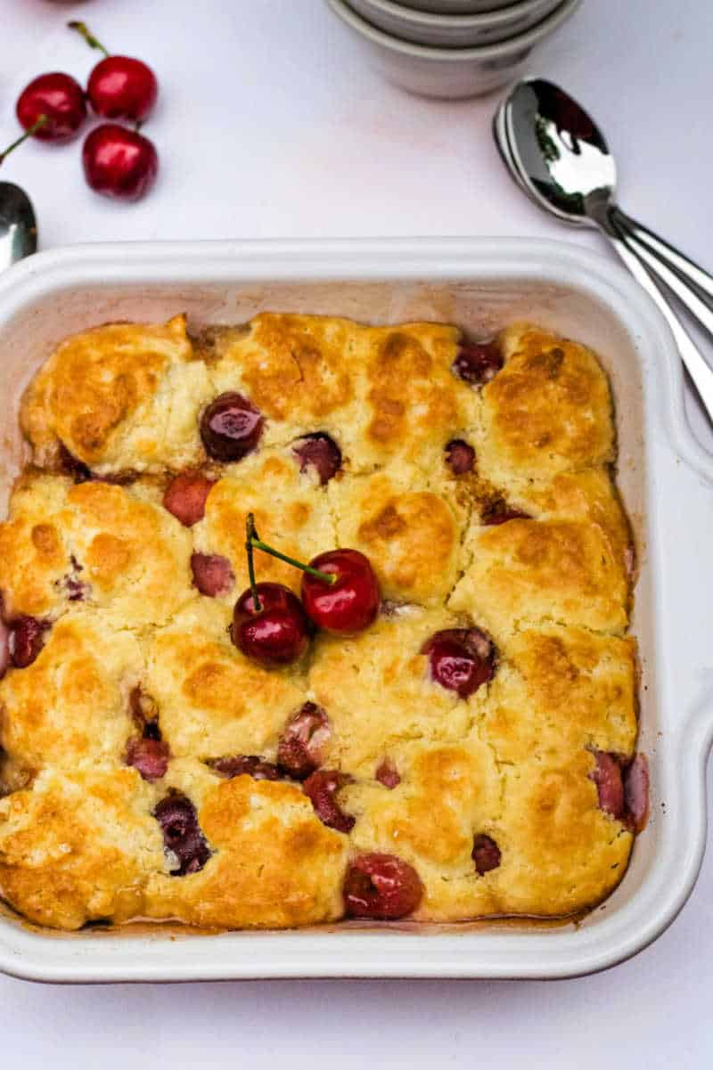 peach cherry cobbler in a baking dish
