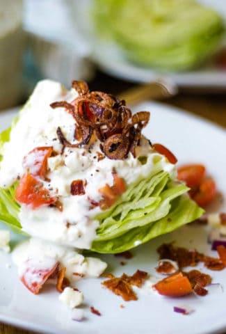 wedge salad with crispy fried shallots