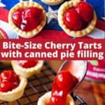bite size cherry tarts on a patriotic napkin