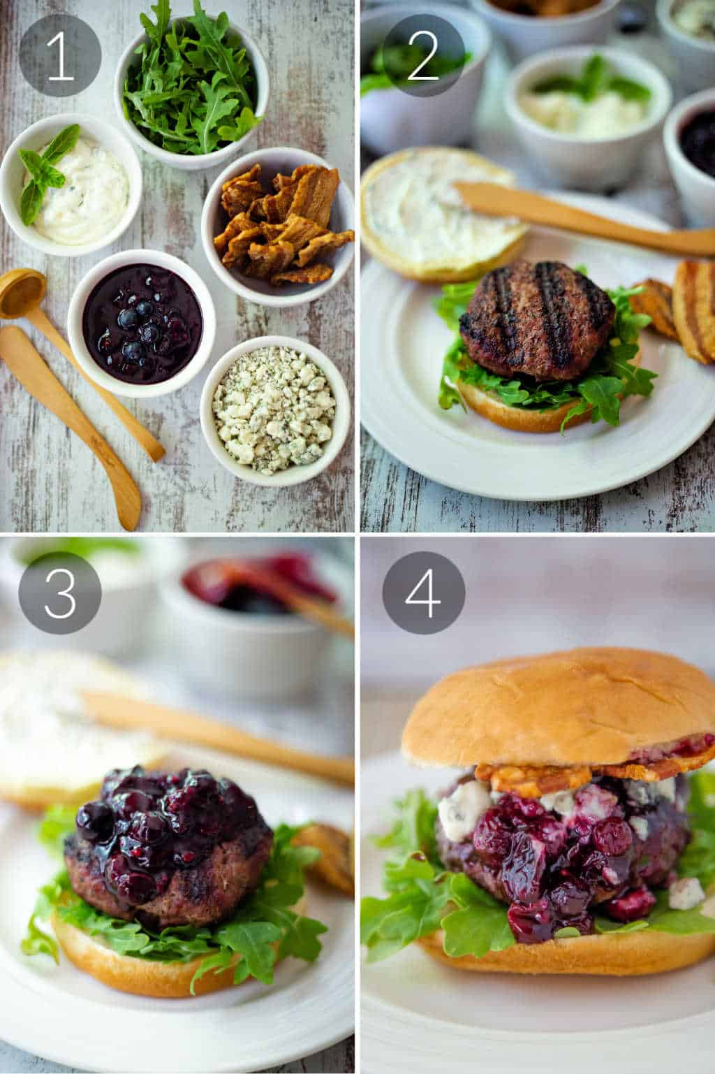 process for assembling a Blueberry Blue Cheese Bacon Burger