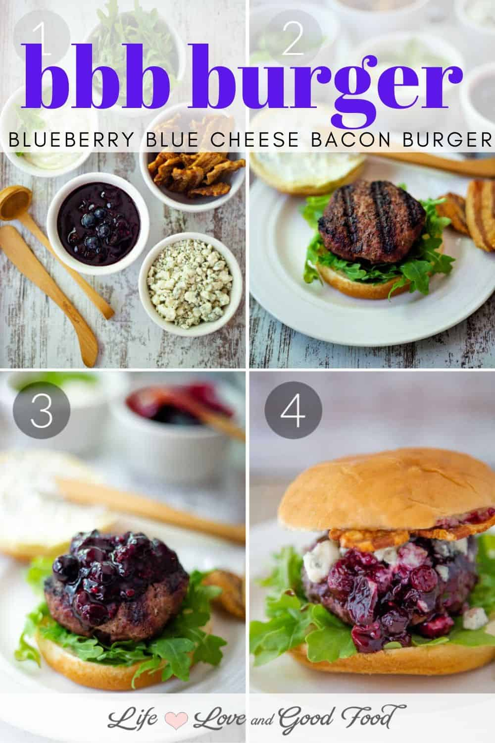 Juicy grilled hamburgers are dressed with homemade basil aioli, arugula, blueberry barbecue sauce, crispy smoked bacon, and plenty of blue cheese crumbles for just the right combination of sweet and savory in this amazing gourmet burger.