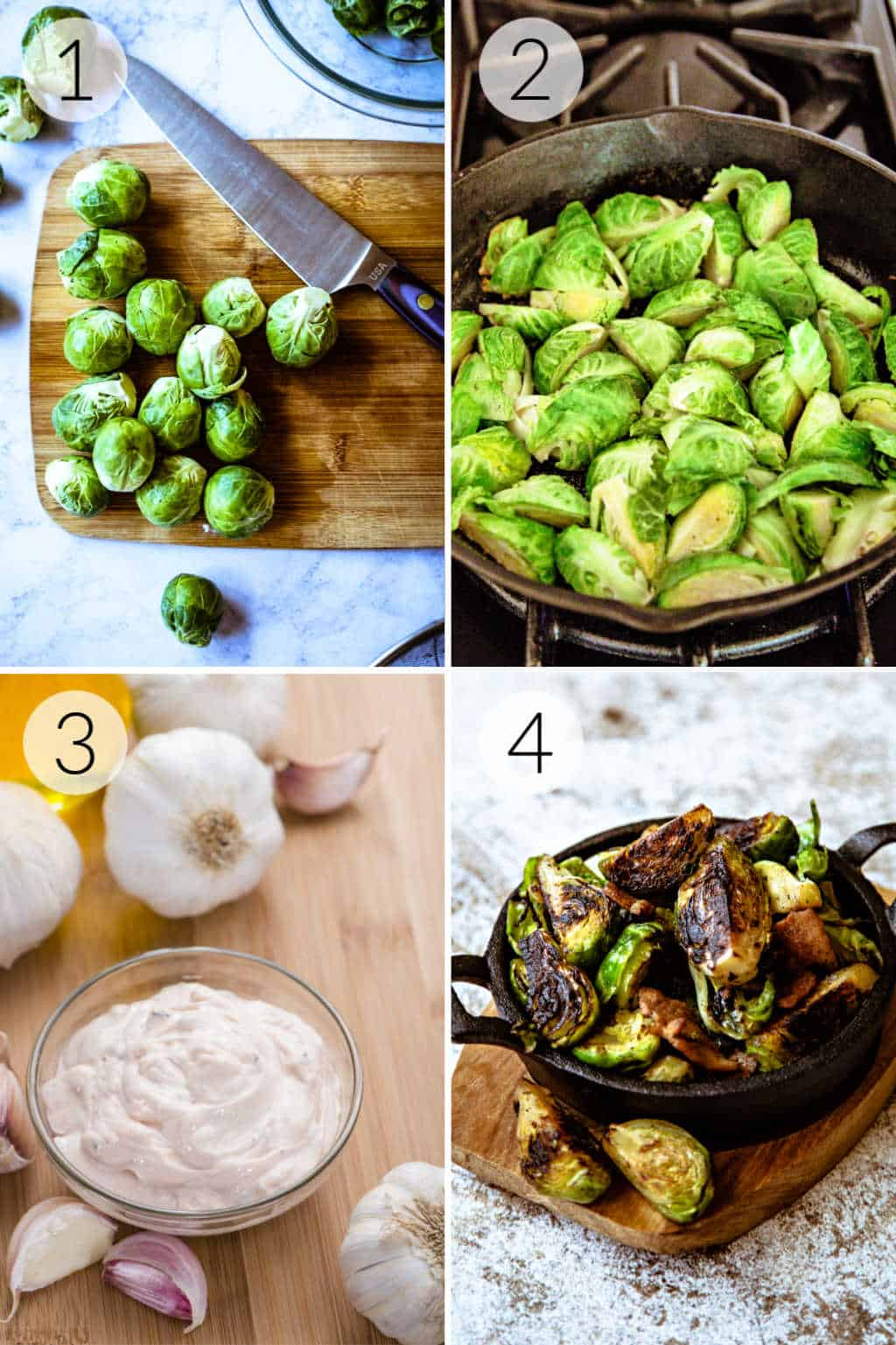 Prepping and cooking steps brussels sprouts and garlic aioli