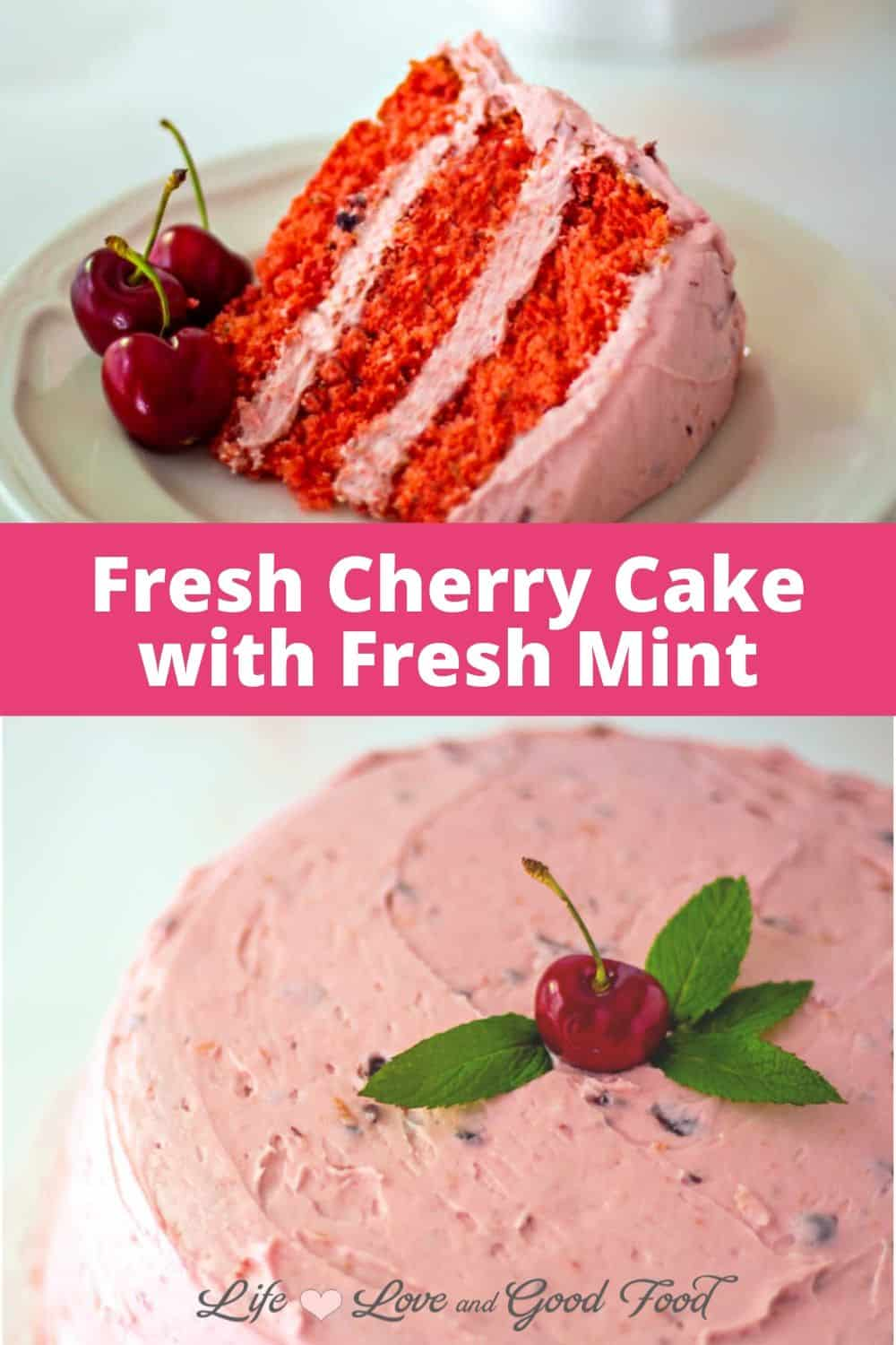 Fresh Cherry Cake with fresh mint infused into the batter and topped with a creamy cherry buttercream frosting is a delicious and impressive Summertime cherry dessert. This semi-homemade three-layer cake starts with a white cake mix, a package of cherry gelatin, and plenty of fresh cherries to give it the best flavor.