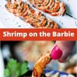 grilled shrimp on skewers on a white plate
