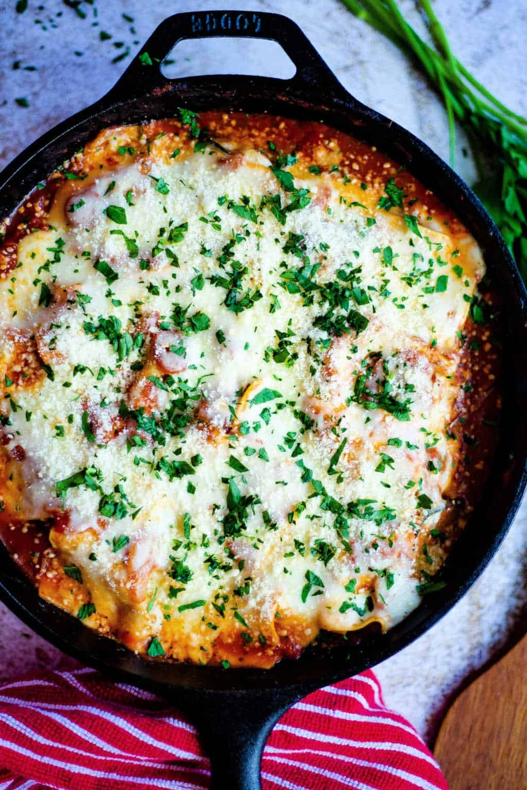 Skillet Lasagna with Squash and Mushrooms in a cast iron skillet