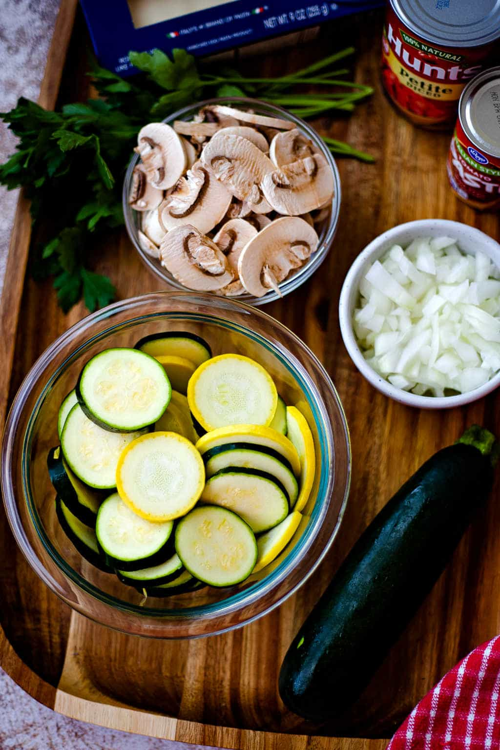 ingredients for Skillet Lasagna with Squash and Mushrooms