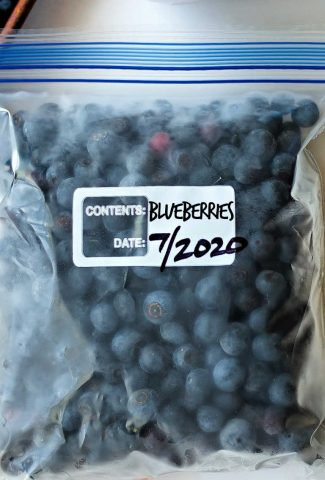 frozen blueberries in a resealable plastic bag