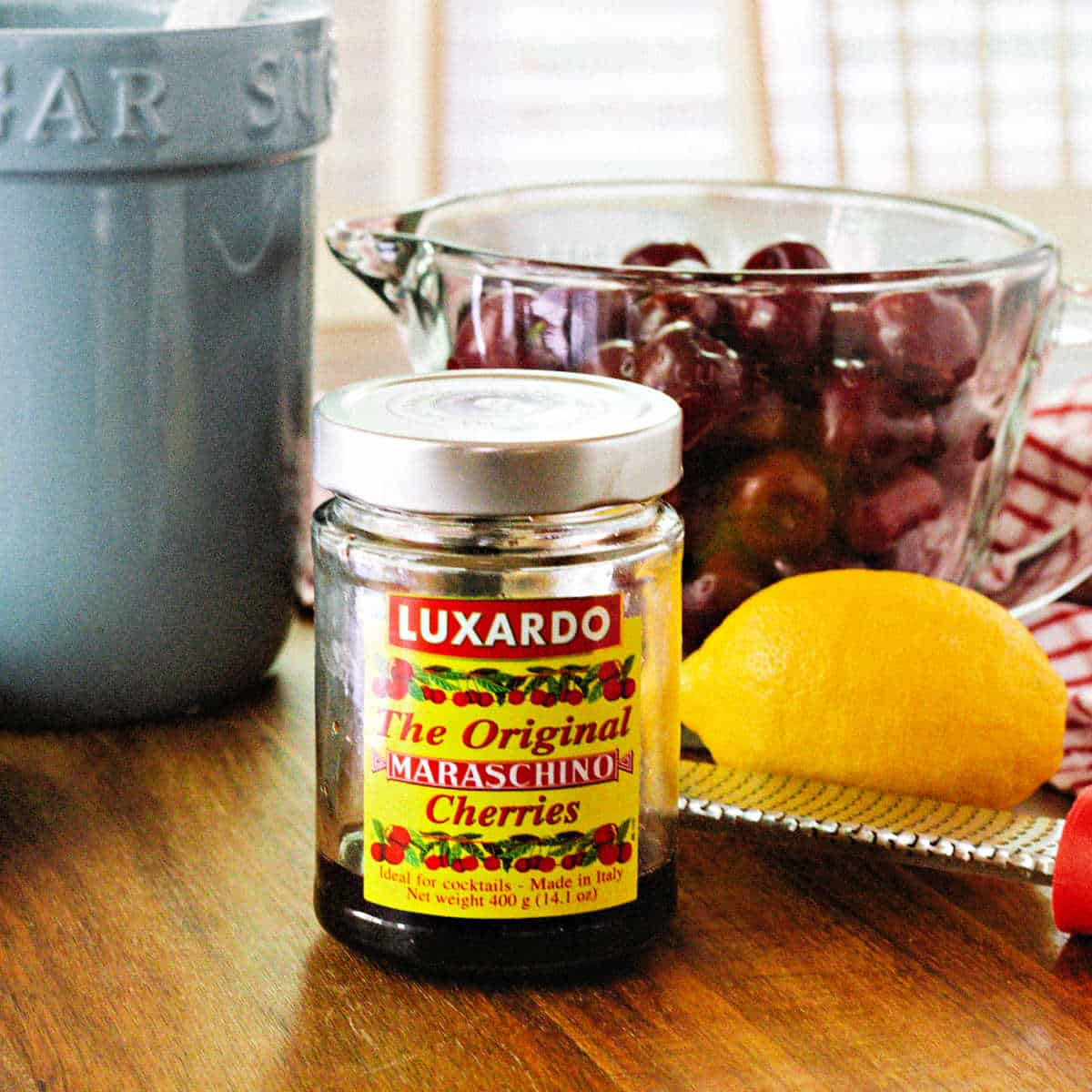 a jar of bourbon cherries