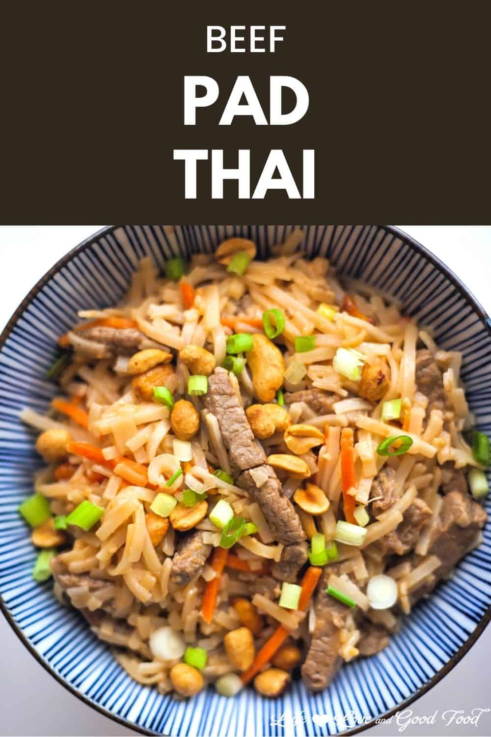 This easy, less-than-30-minute recipe for Beef Pad Thai with Crunchy Peanuts is a beautiful bowl of tender beef and silky rice noodles with dry-roasted peanuts in a delicious creamy sauce.